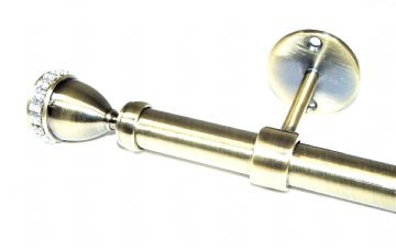 19mm Antique Brass Ceiling Eyelet Curtain Pole with Diamante Trophy Finials 1.2m 1.5m 2.4m 3m